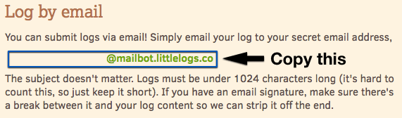 Screenshot showing how to copy your Littlelogs secret email