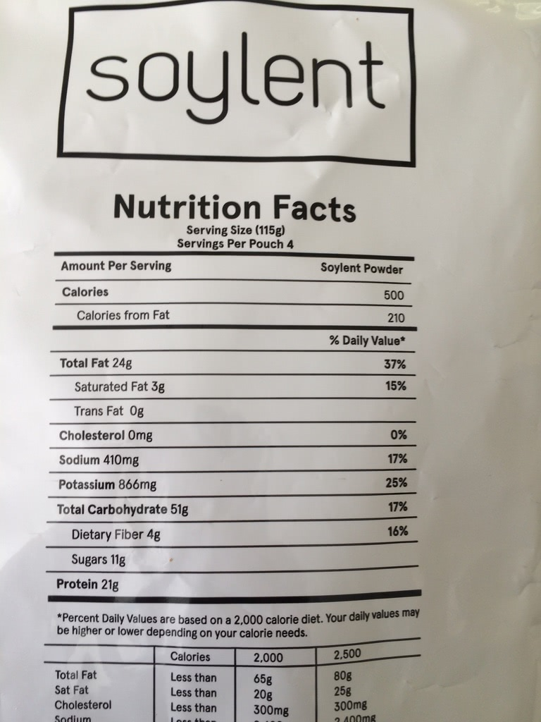 Soylent nutrition label showing calories, fat, protein, carbs, etc.